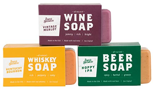 BOOZY SOAP - Great Gift for Wine, Whiskey, and Beer Drinkers -Made in USA- (3-Pack (Wine + Whiskey +...