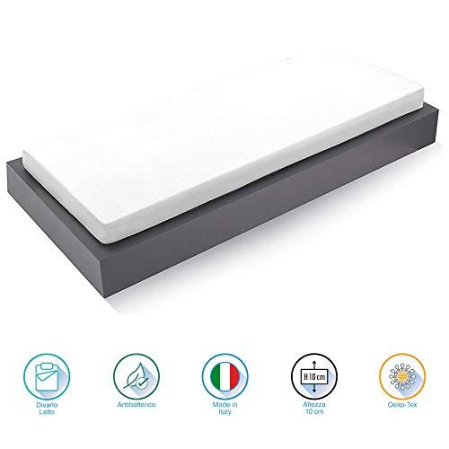 Materasso Farmarelax Silpiuma altezza 10 cm reali, divano letto 140X180, Ideale anche per Camper-Roulotte-Barche, Flessibile, Indeformabile, Spedito Sottovuoto Arrotolato, Ipoallergenico, Certificato OEKO-TEX®, 100% Made in Italy.