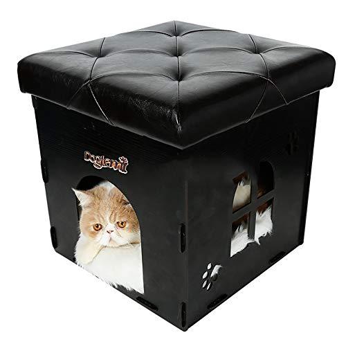 LONG-C Perreras para Mascotas - Casa de Perro de Madera Plegable Multifunción Portátil para Gatos, Taburete Casero de Diseño Totalmente Cerrado, Fácil de Ensamblar y Limpiar,C