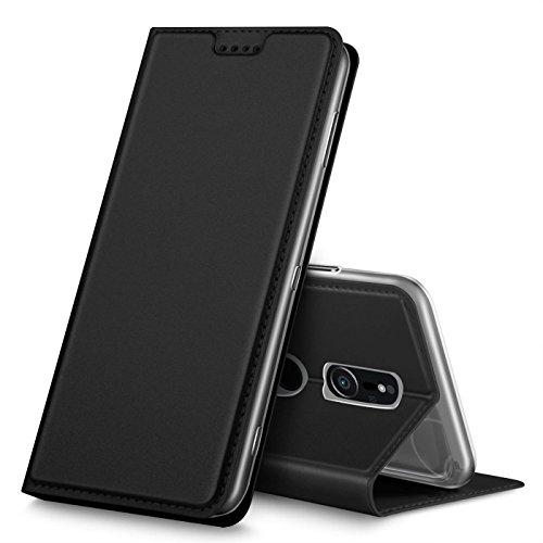 Preisvergleich Produktbild Conie EF40567 Electroplated Flip Case Kompatibel mit Sony Xperia XZ2,  PU Leder Hülle Flip Wallet Cover Kartenfächer Standfunktion Magnetisch für Xperia XZ2 Etui Deep Black