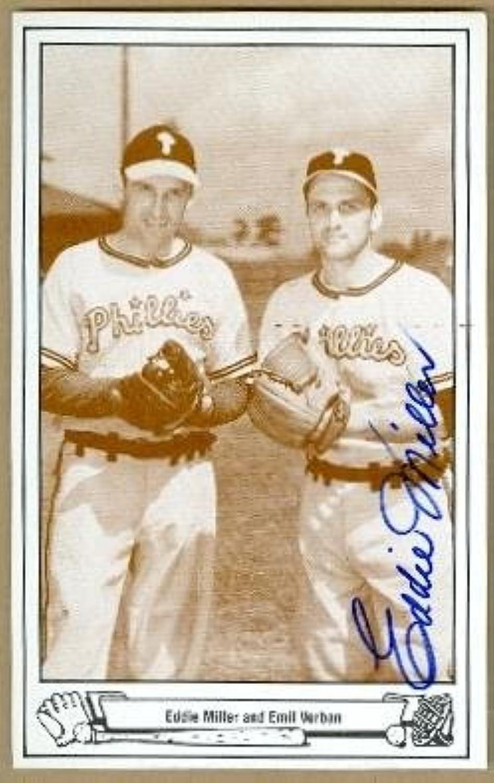 Autograph Warehouse 61708 Eddie Miller Autographed Postcard Philadelphia Phillies 1983 Tcma 67 3.5X5