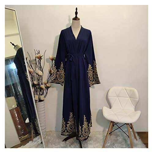 DSJTCH Kaftan Dubai Abaya Kimono Cardigan Muslim Hijab Dress Turkish Saudi Arabia African Dresses for Women Caftan Robe Islam Clothing (Color : Blue Cardigan, Size : Medium)
