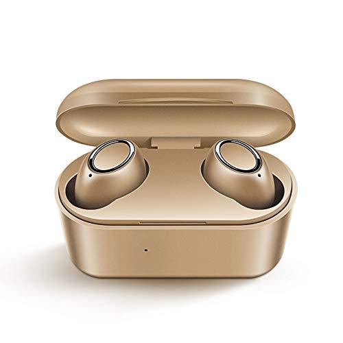 Breakthecocoon Auriculares inalámbricos portátiles auriculares deportivos bajos (color dorado)