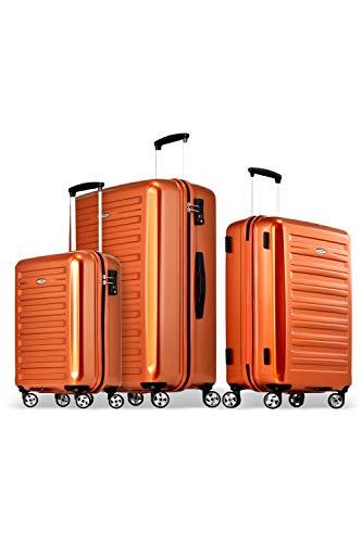 Probeetle by Eminent Koffer-Set Voyager IX (2. Generation) 3-teilig 1x Handgepäck Koffer Gr. S 1x Koffer Hartschale Größe M + L super leicht 4 Doppelrollen 360° Orange
