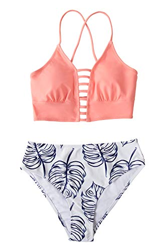 CUPSHE Women's Pink Blue Mid Waisted Bikini Set Lace Up Two Piece Swimsuits, L