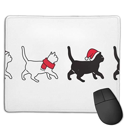 Gaming Mouse Pad-Cat Icon Weihnachtsmütze Sant Claus Rutschfestes, wasserfestes Gummi-Basistuch Computer Mouse Mat