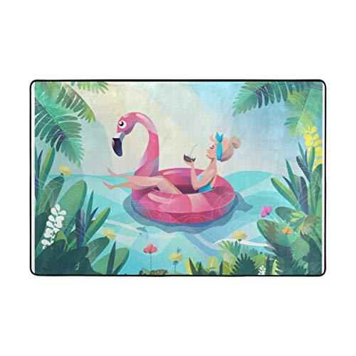 My Little Nest Area Rug Woman Float with Flamingo Circle Lightweight Non-Slip Soft Mat 4' x 6', Memory Sponge Indoor Outdoor Decor Carpet for Entrance Living Room Bedroom Office Kitchen Hallway