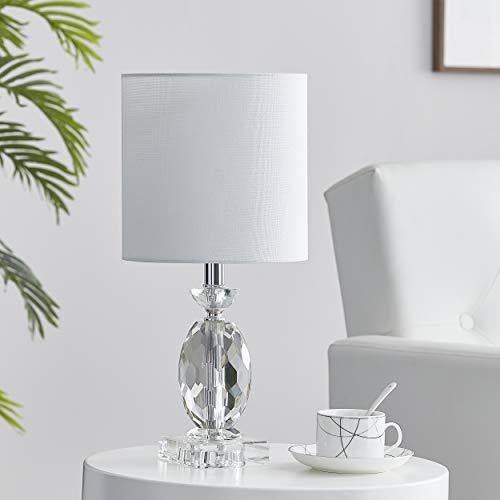 LEEZM Bedside Table Lamp for Living Room, Bedroom, Children Room Crystal Bedside Lamp Night Light Modern Bed Nightstand Lighting Reading Desk Lamps with White Weave Shade for Kids, Study, Office