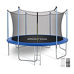 Bluerise 6 'Trampoline for Toddlers and Boys with Zip Net and Basketball Hoop for Little Tikes Safety Trampoline