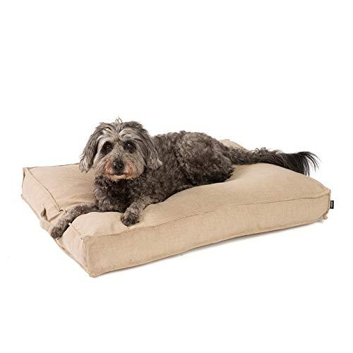 JAMAXX Premium Hundekissen in edler Leinen-Optik - Orthopädisch Memory Visco Schaumstoff - Waschbar Abnehmbarer Bezug - Wasserabweisender Innenbezug - Hundebett PDB1005 (M) 90x70 Coffee-beige