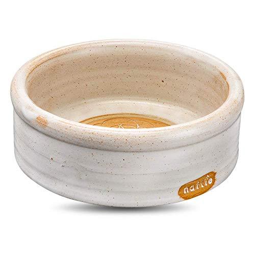 naftie hochwertiger Keramiknapf Mandala Sand weiß | Hunde-Napf & Katzen-Napf Keramik | rund, waschbar, spülmaschinenfest | handgetöpfert in Bayern | L - ca. 7cm hoch, 1 Liter, 20-21cm