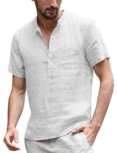 COOFANDY Men's Cotton Linen Henley Shirt Long Sleeve Hippie Casual Beach T Shirts (Medium, Type02-1White000)
