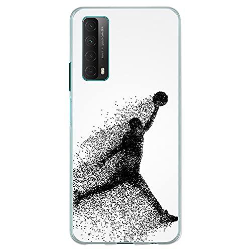 Funda Transparente para [ Huawei P Smart 2021 / Y7A ], Carcasa de Silicona Flexible TPU, diseño : Jugador de Baloncesto Abstracto Saltando