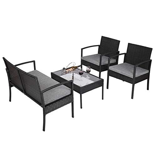 Dining Furniture; Outdoor Rattan Wicker Table and Chairs Set- 1 Table & 1 Cushioned Sofa & 2 Chairs; for Living Room Patio Pool Backyard; 4 PCS; Black