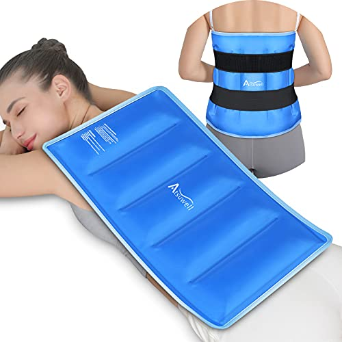 """Atsuwell Extra Large Ice Pack for Back Pain Relief (21""""x13""""), Reusable Full Back Gel Ice Packs with Cold Compress Therapy for Injuries, Swelling, Bruises and Sprains, XXL"""