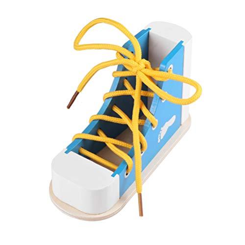 STOBOK Aprende a atar los zapatos cordones de los zapatos juguete de madera para atar los zapatos Kit educativo juguete para niños azul