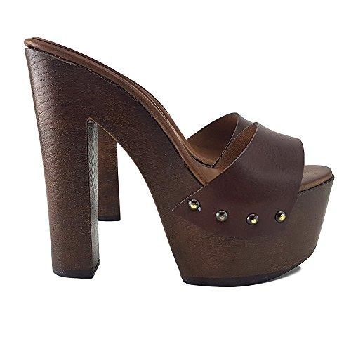 Kiara Shoes Zoccoli in Cuoio Tacco 14 cm -MY3410 (39)