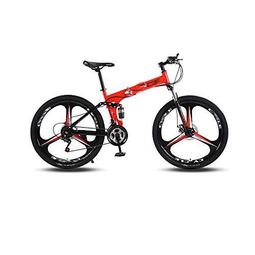 Vélo De Montagne en Trois Pièces Conception Facile à Plier Adapté Aux Personnes d'une Hauteur De 160-185 Cm , 95 * 35 * 100 Cm,Red