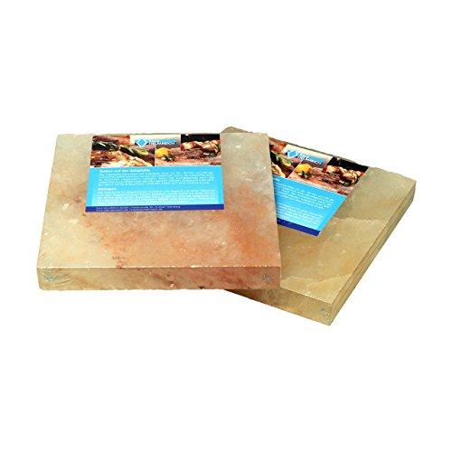 2 Salzsteine BBQ Salzplatten(20x20x2,5cm) zum Grillen (4.4kg), mehrfach verwendbar; Salzhändler seit 1855