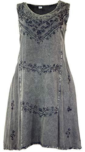 Guru-Shop Besticktes Boho Sommerkleid, Midikleid, Indisches Hippie Kleid in 7/8 Länge, Anthrazit, Damen, Design 7, Synthetisch, Size:40, Lange & Midi-Kleider Alternative Bekleidung