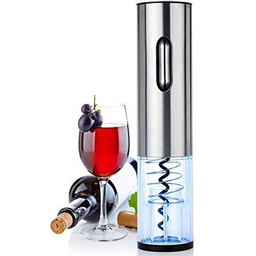 GOSCIEN Electric Wine Opener, Rechargeable Automatic Cordless Wine Bottle Opener, Automatic Corkscrew with Foil Cutter (Base) and USB Charging Cable, LED Indicator Light - Stainless Steel