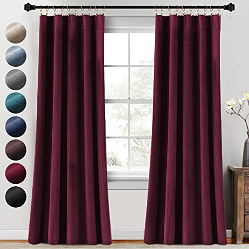 PrinceDeco Luxury Velvet Blackout Curtains for Living Room 2 Panels 95 Inches Thick Soft Velour Light Blocking Home Decorative Curtain Draperies for Bedroom Rod Pocket, Burgundy
