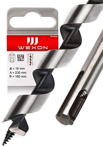 SDS Plus Schlangenbohrer 16mm x 230 - Extra Lang - Holzspiralbohrer - kompatibel mit Bosch Hilti Makita Metabo - Premium Qualität - Type Lewis Holzbohrer für Abbruchhammer und Schlaghammer
