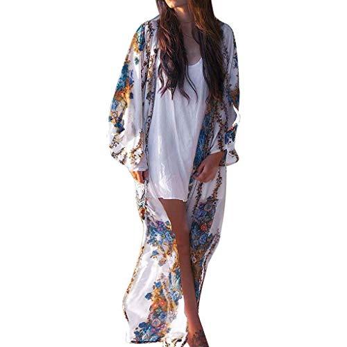GHXCJ Blusas Sueltas de la Rebeca del Kimono del Vestido de la Cubierta del Bikini de la Playa de la Gasa de la Gasa de la Manga Larga Floral Ligera de Las Mujeres