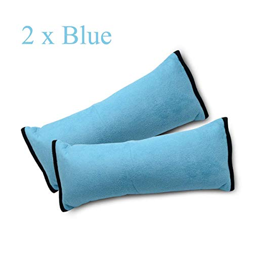 Riloer Cojín para cinturón de seguridad, fundas para cinturón de seguridad para niños, ajuste del cinturón de seguridad del vehículo, almohadillas para el hombro (azul)
