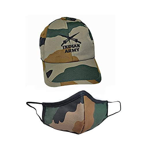 KT® - Cotton Indian Army Military Cap for Men and Women, Camouflage Army Printed Adjustable -Free Size (Unisex)
