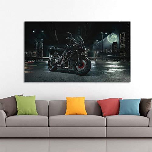 SNGTOW Motocicleta Vehículo Ciudad Vista Nocturna Papel Tapiz Carteles Arte de la Pared Impresiones Lienzo Pinturas para la decoración de la Sala de Estar | 40x60cm Sin Marco