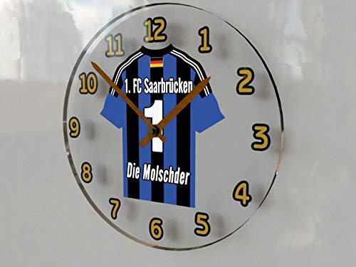 FanPlastic 3. Liga Deutschland Fußball Wanduhr - Fußball - 3. Liga Fußball, JEDER Name & Jede Nummer - NEUES ACRYL Shirt Design !!! (1. FC Saarbrücken)