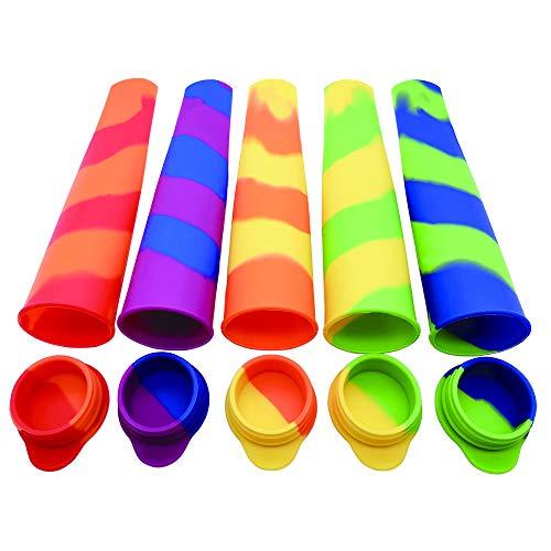 Transino Moldes para Hielo 5PCS Moldes Polos de Silicona, Moldes para Helados Libre de BPA y Reutilizable, Molde de paletas de Hielo, Cocina de Verano Moldes para Hielo Congelados Herramientas