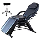 FOHGFNT Beauty Salon Style Facial Stationary Table Waxing Lash Tattoo Adjustable Professional Massage Spa Bed Chair With Drafting Rolling Stool,Black
