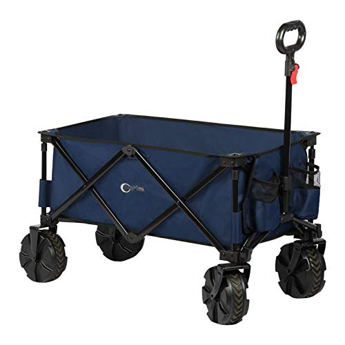 PORTAL Collapsible Folding Utility Wagon Cart with 8 inches Wheels Telescoping Handle for Outdoor...