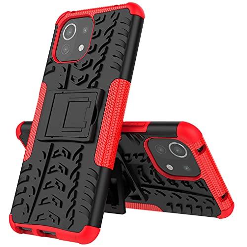 Liner Cover per Xiaomi Mi 11 Lite, Antiurto Protezione Silicone con Supporto Pieghevole Nascosto Kickstand Rugged Custodia Case per Xiaomi Mi 11 Lite - Rosso