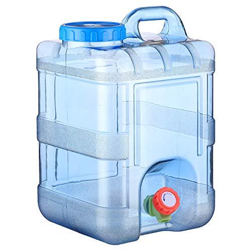 Bidón de agua portátil para camping, 15 l, grueso exterior, depósito de agua portátil para pícnic, con grifo, para pícnic y senderismo (9,45 x 9,45 x 14,96 pulgadas)
