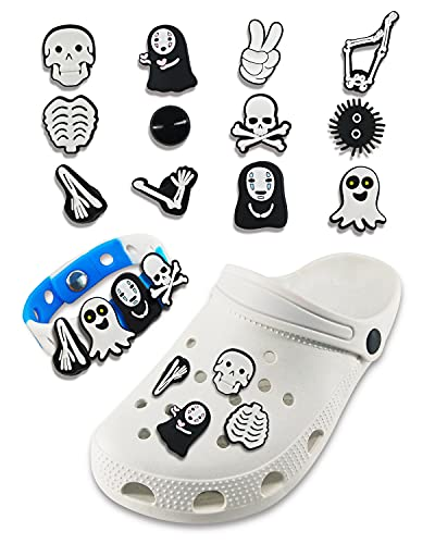 12 PCS Skull Shoe Charms Fits for Clog Shoes Sandals Decorations PVC Horror Movie Croc Shoe Charm with Wristband for child & Adult Make-up Party Favors Birthday Halloween Party Gifts