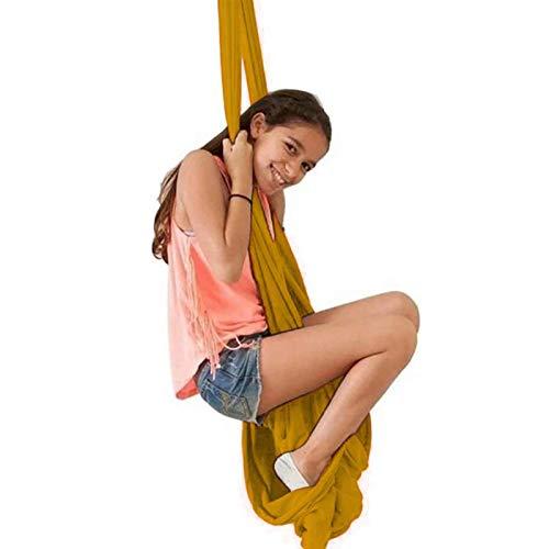 XCJJ Haa de Yoga con Columpio de Terapia Elástica para Adultos Y Niños con Necesidades Ees Ideal para Autismo Adhd Aspergers Hardware de Integración Sensorial Incluido,Oro,el 150 * 280Cm