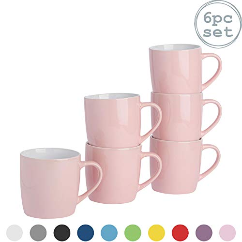 Rink Drink Argon Tableware Tee-Kaffeetasse - 6pc altkolorierter Keramik Cups Set - 350ml - Rosa - 6er Pack