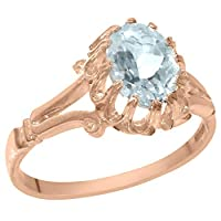 英国製(イギリス製) K18 ピンクゴールド 天然 アクアマリン レディースソリティア リング 指輪 各種 サイズ あり