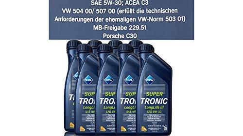 8x 1 L Liter ARAL SuperTronic Longlife III 3 5W-30 Motoröl