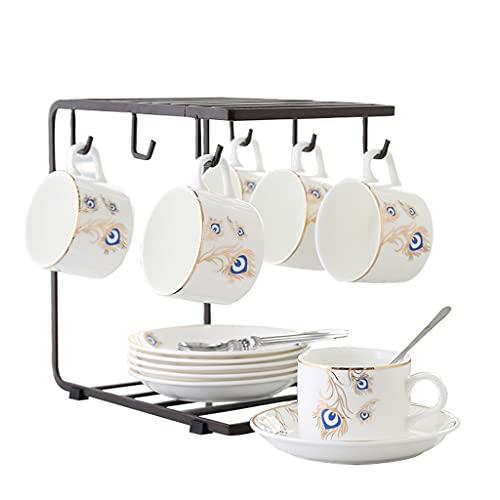 Taza de Latte Art Conjunto de tazas de té y platos, 6 piezas de patrón de pavo real rojo conjunto de taza, 6 platillos y cucharas, taza de capuchino y platillo con el titular para el café de café café