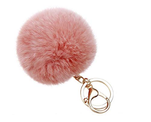ALMA POM Bommel Schlüsselanhänger Ball aus Kunstfell Accessoires Tasche Damen rosa Salmon