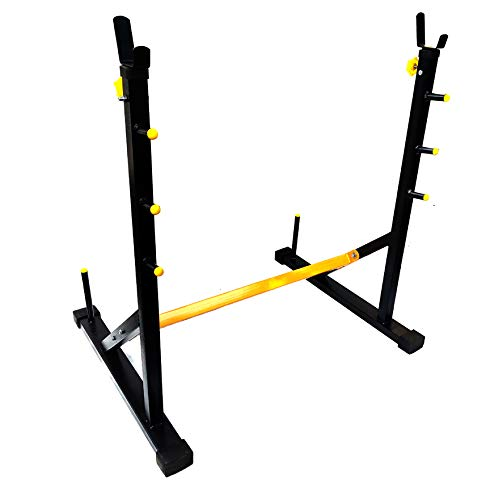 Protoner Blend Joint Squat Stand with Safety Holders Heavy Duty Structure (Black and Yellow)