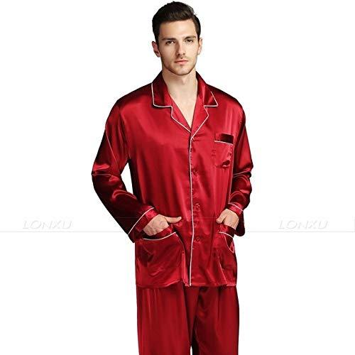 Handaxian Conjunto de Pijama de satén de Seda para Hombres Ropa Casual para Todas Las Estaciones Conjunto de Ropa Interior para Hombres Vino Rojo 4XL