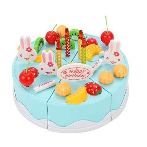 U/K Original juguete para tarta de cumpleaños, 38 unidades, para cortar frutas, tartas de cumpleaños, comida, juegos para niños, color azul, duradero y útil