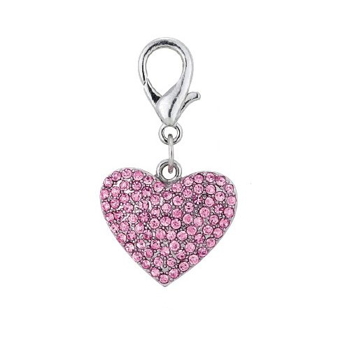 PetFavorites trade; Couture Designer Fancy Bling Rhinestone Heart Pet Cat Dog Necklace Collar Charm Pendant Jewelry (Pink)