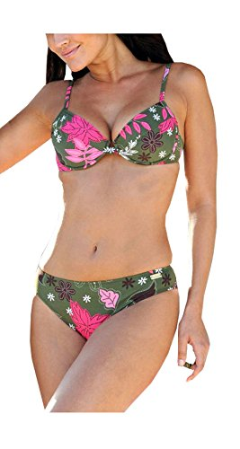 BUFFALO Marken Push Up Bikini grün bunt Gr, Grün-Bunt, 34 C-Cup