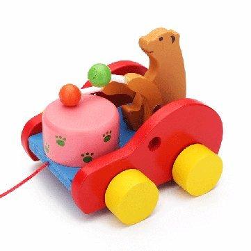Bébé Enfants Winnie tambour tracteur Tirez Ours Jouets en bois